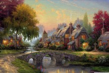 Canvas Poster cinderellas castle by thomas kinkade rainbow landscape painting YS24 Living Room home wall modern art decor(China)