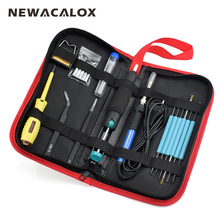 NEWACALOX EU 60W 220V Adjustable Temperature Electric Soldering Iron Kit Welding BGA Repair Tool Bag Set Solder Wire Test Pencil(China)