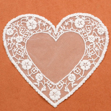 1 Piece White Craft Lace Collar Venise Love Heart Mesh Embroidered Applique Trim Lace Wedding Dress lace fabric for patchwork