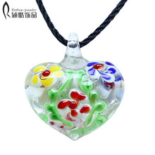 heart Lampwork Murano Glass Necklace For Women Blue Green Red yellow Multi Color Pendant Necklaces Jewelry(China)
