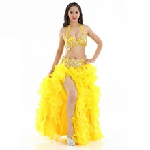 2017 Egyptian Belly Dance Outfit Set Beaded Bra B/C Cup Wave Skirt Egypt Belly Dance Costume Professional(China)