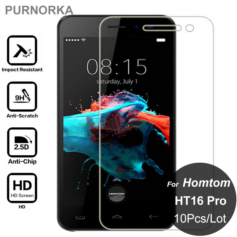 "10 Pcs/Lot 9H 2.5D 0.26mm Premium Tempered Glass Homtom HT16 Pro HT 16 Pro 5.0"" Screen Protector Toughened Protective Film"
