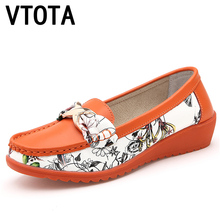 VTOTA Women Genuine Leather Shoes Fashion Women Loafers 2017 Slip On Shoes Women Casual Wedges Moccasins Shoes Woman A71(China)