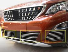 26pcs/set Stainless Front Head Grill Grille Bottom Decoration Strip Trim FOR PEUGEOT 3008 GT 2016 2017 car styling