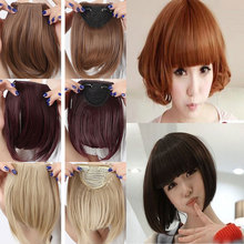 Girls Women's One Piece Hair Extensions Fashion Front Fringe Bangs Fringes 2 Clips In On Real Natural Synthetic Hair Extension