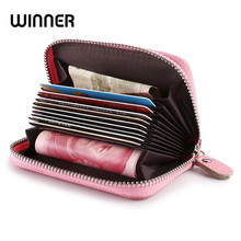 Women zipper credit card holder Patent leather fashion cardholder extendable id holder bags by 8 colors(China)