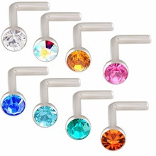 8Pcs Stainless Stel L Shape cz Gem Nose Bone Stud Piercing Rings Body Jewelry Retainers 20g(China)