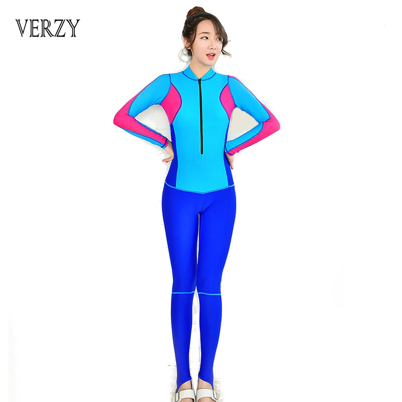 2016 New Long sleeve Sexy Women Fullsuit Standing collar swimwear Young ladies wetsuit One Pieces swimsuits swimming Bodysuit<br>