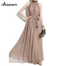 Buy Sexy womens long dress halter collar chiffon dress elegant sleeveless dress lady summer maxi casual dresses vestido de festa