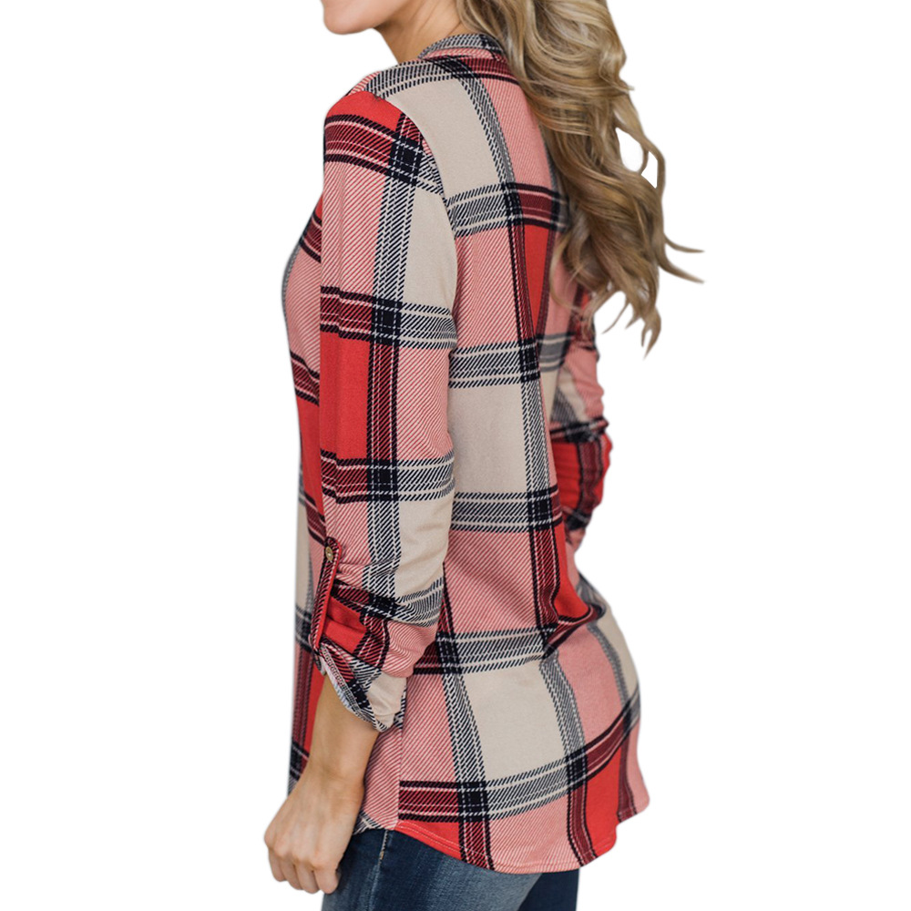V-neck Blouse Women Long Sleeve Plaid Shirt Top Spring Autumn Casual Office Blouse Blusas Mujer De Moda 2018 Blouses Feminine3
