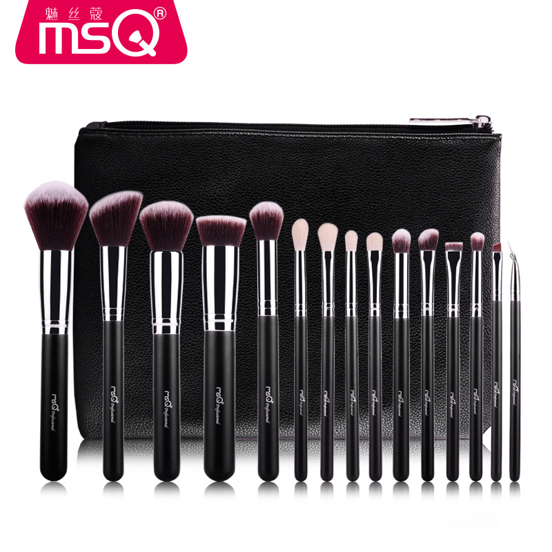 MSQ Professional 15 pcs Makeup Brushes Set For Women Fashion Soft Face Lip Eyebrow Shadow Make Up Brush Set Kit + Pouch Bag<br>