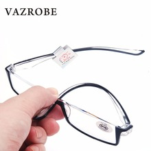 Vazrobe Foldable Half Lens Reading Glasses diopter Men Women +1.0 +1.5 +2.0 +2.5 +3 case free Female Grade Points presbyopia(China)