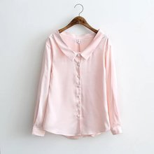 2017Spring European High-end Women Satin Silk Blouse Ladies Shirt Long Sleeve Satin Tops Women Elegant Pink White Blouses Blusas