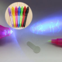 Children Invisible Ink Pen UV Black Light Combo 2 in 1 Magic Invisible Ink Pen Security Mark School Office Drawing Toy Supplies(China)