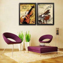 Modern Fashion Art Canvas Prints Music Posters Piano Violin on canvas Wall Picture for Piano hall bar Home Decor No Frame DP0150