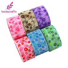 Lucia crafts 5y/6y-lot 25mm Flower Printed Organza Lace Ribbons DIY Trim Sewing For Wrapping Hair Bow Materials 040044071(China)