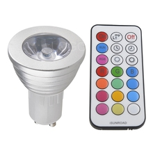 E27 RGB LED 220V 16 Color Lights 3W E27 MR16 GU10 RGB Led Bulb Lamp Spot Light Multicolor With Remote Control Party Decoration(China)