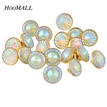 Hoomall Brand AB Color Rhinestone Buttons 50PCs 10mm Plastic Buttons Scrapbooking Sewing Shank Buttons Sewing Accessories