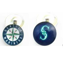 Seattle mariners MLB Baseball team Logo Glass Snap Button Charm for snap jewelry Fit 18mm Snap Bracelet