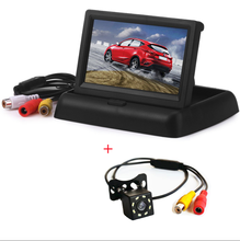 Portable HD 4.3 inch Car Display Rearview Camera Screen Foldable Car Rear View Monitor with Reserving Digital LCD TFT Connection