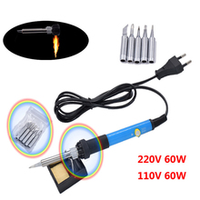60W 110V US 220V EU Electric Adjustable Temperature Welding Solder Soldering Iron with  5pcs Iron Tips + Stand