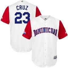 République Dominicaine de MLB Hommes Baseball Nelson Cruz Majestueux Blanc  2017 maillot de Baseball Du Monde Réplique Baseball .