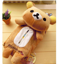 Plush toy 1pc cartoon Rilakkuma Relax bear vehicle tissue paper towel cover decoration children stuffed gift for baby(China)