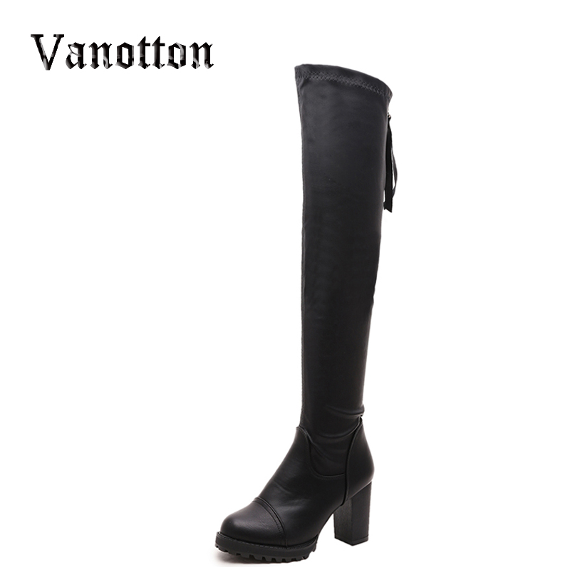 Over-the-knee Womens Long Boots Autumn And Winter High Shoes Stretch Fabric Thick Heel Platform Boots<br><br>Aliexpress