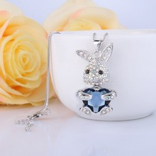 Bella Fashion Bling Heart Lovely Rabbit Pendant Necklace Austrian Crystal Animal Necklace For Women Party Jewelry Valentine Gift(China)