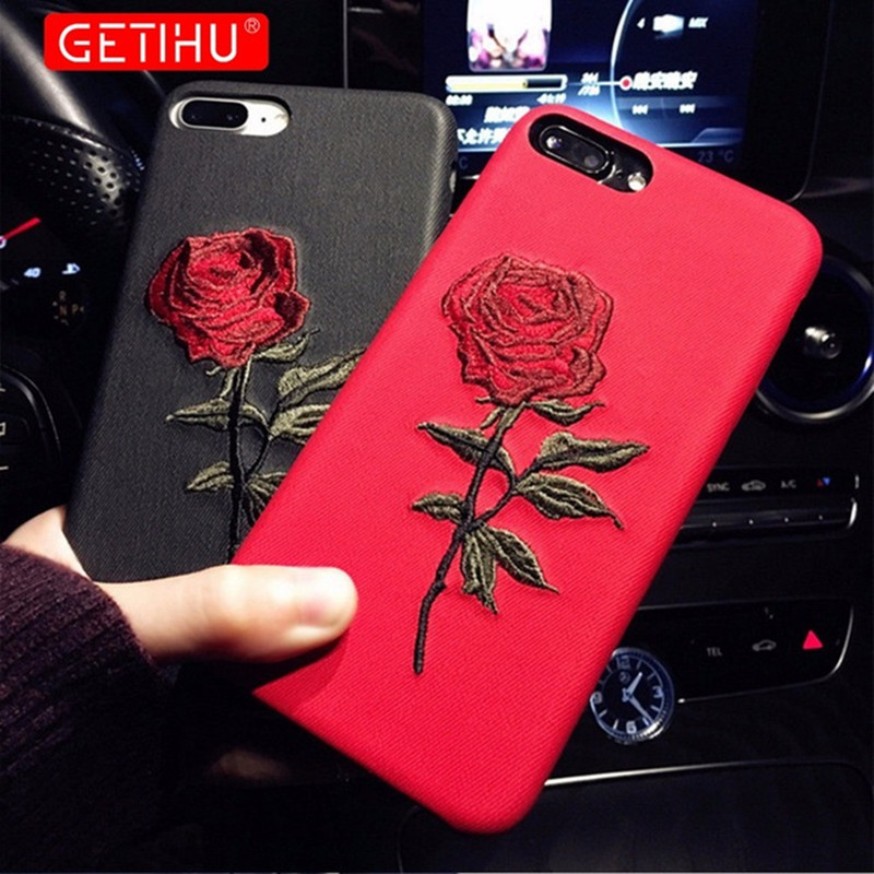 GETIHU Embroidery Rose Case iPhone X 7 8 6 6S Plus Cover Capa Coque iPhone 7 6 8 Case 360 Degree iPhone7 7Plus Cases