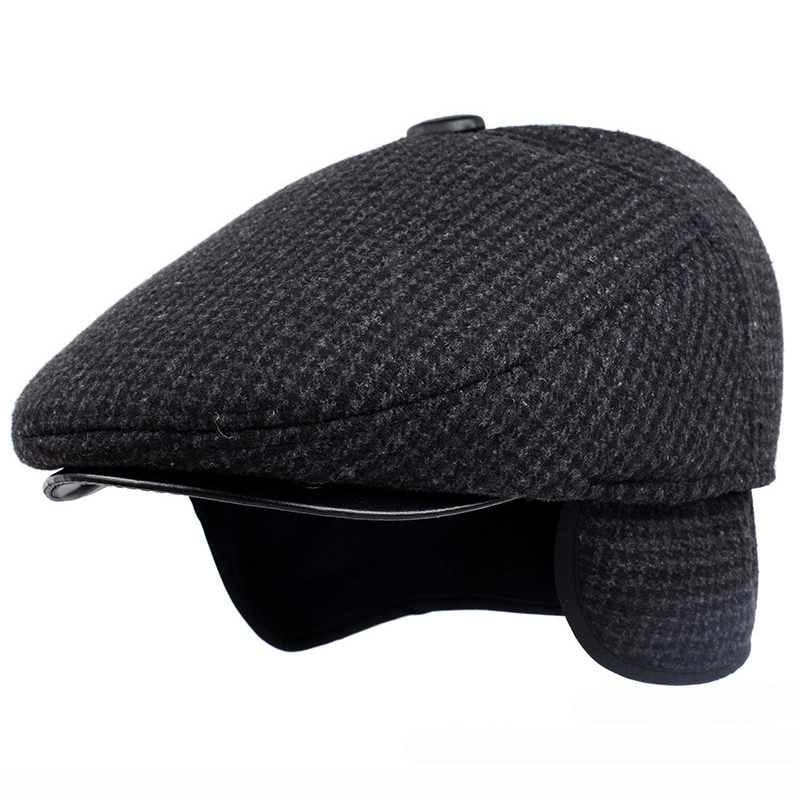 HT1847 Classic Man Cap Autumn Winter Hat with Ear Flap Elder Man Male Dad Hat Warm Newsboy Ivy Flat Cap Wool Blend Men Beret Cap title=