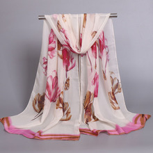 2016 New Women Chiffon Floral Printed Designer Scarf Summer Beach Gradient Plaid Flower Casual Silk Scarves Long Wrap Pashmina(China)