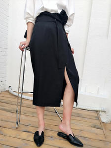 TWOTWINSTYLE Black Skirts Bandage Asymmetrical Side-Split Midi Elegant High-Waist Women