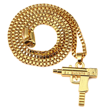 Popular Men's Hip Hop Necklace Nightclub Cool Hiphop Rap Rock Dancing Golden Color Gun Shape Necklace 24 Gold Pendant Necklace
