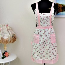 Lovely Women Lady Printing Flower Restaurant Home Kitchen For Pocket Cooking Cotton Apron Bib F8143 3(China)
