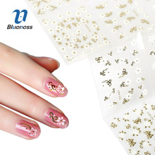 Blueness 24 Pcs/Pack Gold Mixed Design Nails Decals 3D Nail Stickers Water Transfer Sticker Nail Art Foil Sticker Manicure(China)