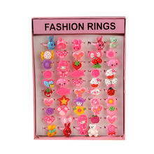 50Pcs Mix Wholesale Cartoon Plastic Ring Lot for Kids Children Colorful Flower Animal Finger Rings Birthday Gift pink square box