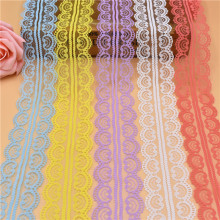 10 Yards Lace Ribbon Tape 45MM Wide White Lace Trim Fabric DIY Embroidered Net lace trimmings for sewing accessories Decoration(China)