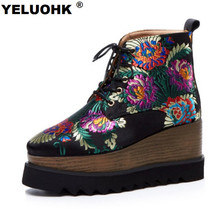 2017 Brand Embroider Autumn Boots Female High Heels Fashion Square Toe Ankle Boots For Women Pumps Wedge Shoes Women High Boots(China)