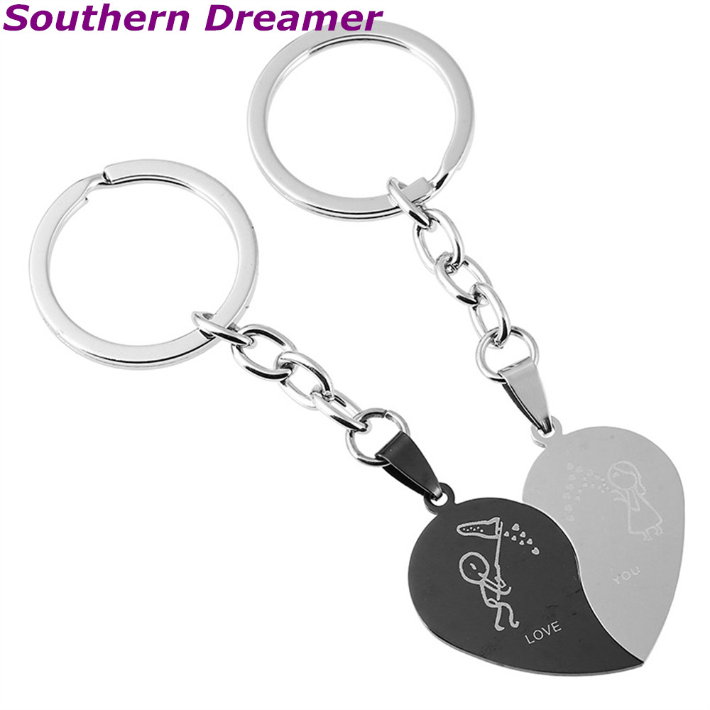 2 pcs heart-shape  love you Stainless steel keychains