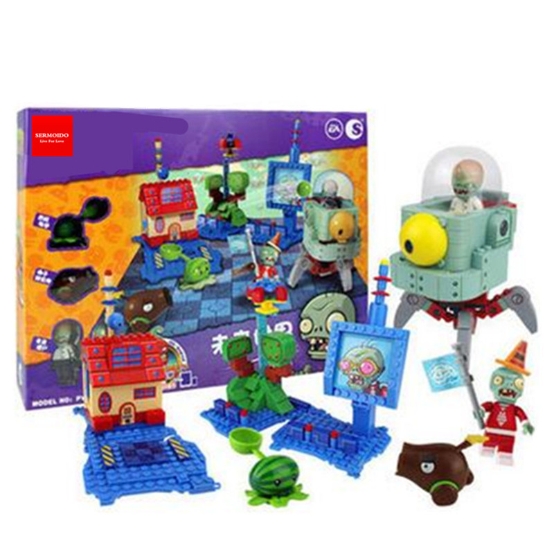 Plants Vs Zombies Garden Maze Struck Game Action Toy &amp; Figures Anime Figure Building Blocks Bricks Brinquedos Toys XD55<br>
