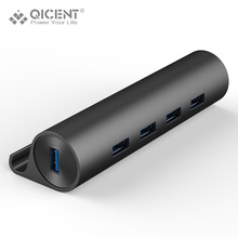 QICENT 4 Port Aluminium HUB Super Speed 3.0 USB Hub External Splitter Portable with Stand Holder for Laptop PC Computer etc.(China)