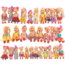 URGE Hot random 4pcs/lot  Mixed Sorts dolls reborn cheap plastic dolls frozen clothes beautiful hair for doll toys for children