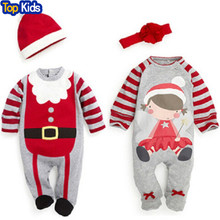 2017 New Christmas Gifts baby rompers kids long sleeve clothing set baby suits top + headband or hat retail CR028(China)