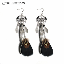 QIHE JEWELRY Black Feather Tribal Dream catcher Earrings Boho Hippie Style Native American Jewelry(China)