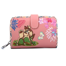 Leather Wallet Women Animal Print Purse Card Holder Zipper Short Wallets for Girl Deer Flower Embroidery Credit Business Wallets