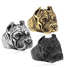 316L Stainless Steel Titanium Animal Pit Bull Dog Ring Men Personality Unique Men's Jewelry US size