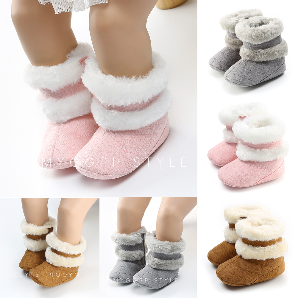 Newborn Baby Boots Toddler Infant Boys Girls Cute Anti-Slip Sneaker Infant Winter Warm Soft Sole Crib Trainers Shoes