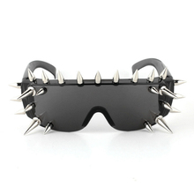 Vazrobe Spiked Goggles Glasses with Spikes Rock Black Women Steampunk Sunglasses Novelty Plastic Spike Hippy One Piece Hip Hop(China)