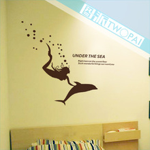 Free shipping Mermaid Merlons Fish  Living room bathroom sticker  glass sliding door tile wall stickers decoration wall covering